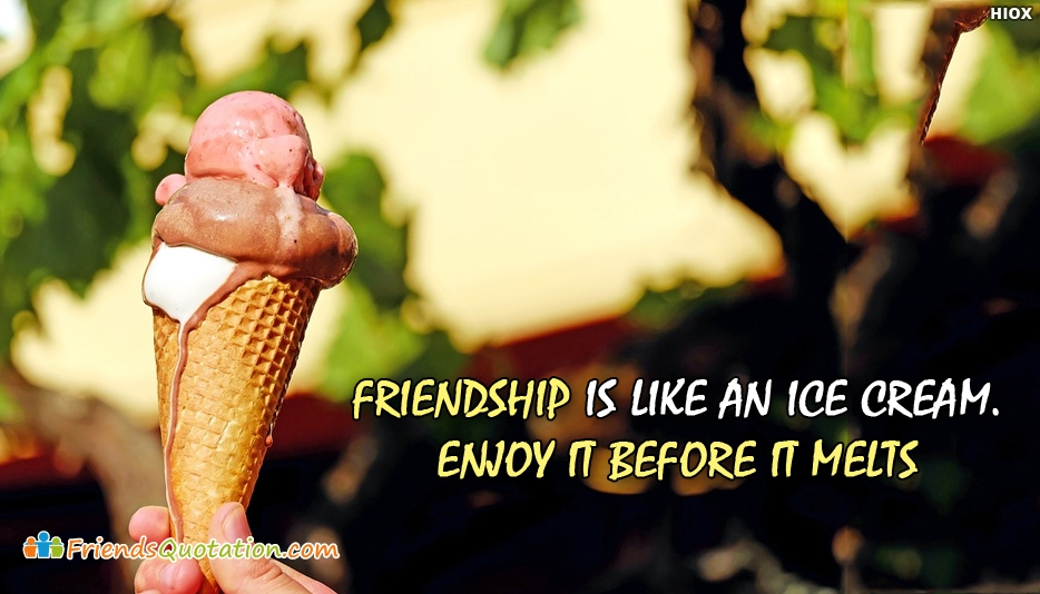 Friendship Is Like An Ice Cream Enjoy It Before It Melts