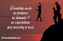 Friendship Needs No Promises, No Demands