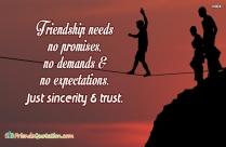 Friendship Needs No Promises, No Demands
