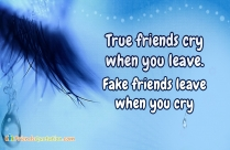 True Friends Cry When You Leave