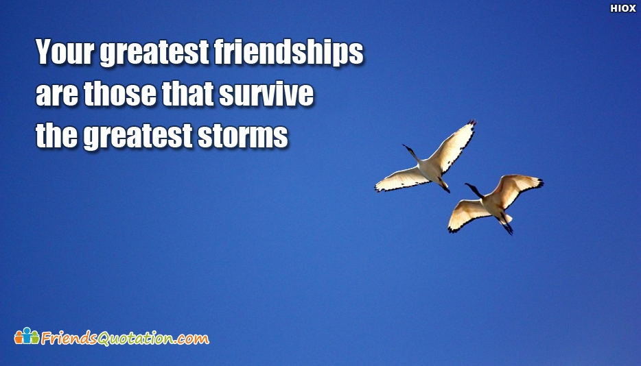 Your Greatest Friendships Are Those That Survive The Greatest Storms - Best Friends Quotes for True Friends