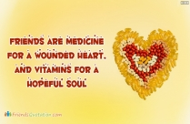 Friends Are Medicine For A Wounded